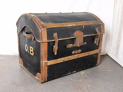 An Antique Early 20th Century Leather Domed Travelling Trunk Chest ~Can Deliver~