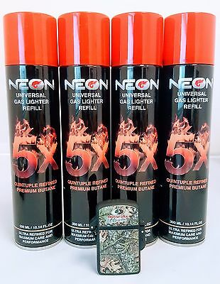 4 CANS NEON 5X Butane Gas 300mL 5 X Super Filtered  Fuel- with camo lighter