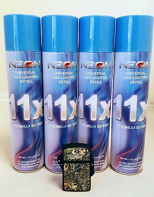 4 CANS NEON BUTANE GAS 300ml 11X REFINED FILTERED FUEL with camo lighter IGNITUS