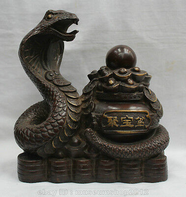 "9"" Chinese Feng Shui Bronze treasure bowl Zodiac Year Snake Eye wealth Statue"