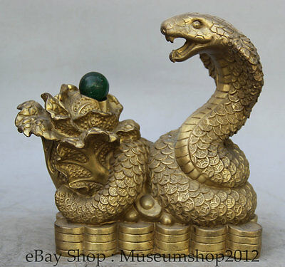 "8"" Chinese Brass Zodiac Year Eye Snake Bead Serpent Cabbage Wealth Rich Statue"