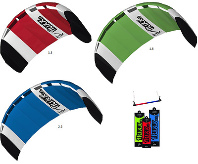 Hq Fluxx 1.3 1.8 2.2 Trainer Power Kite Package Kiteboarding With Control Bar