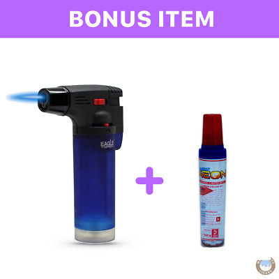 Eagle Jet Torch Gun Lighter Adjustable Flame Refillable - BLUE& Bonus lighter