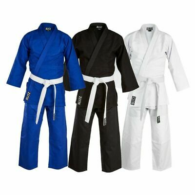 Blitz Sport Kids Student Judo Suit - FREE White Belt - White, Black, Blue