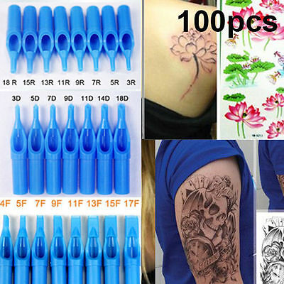100PCS Mixed Sterile Disposable Tattoo Nozzle Tips Needle Tube RT DT FT Blue