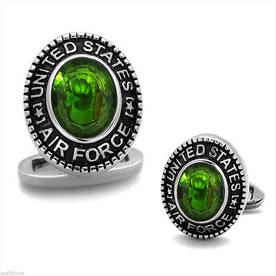 US Air Force Peridot Green Stone Military Silver Stainless Steel Cufflink