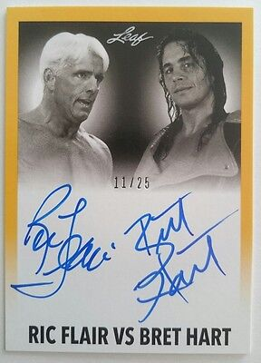 2014 Leaf Wrestling Ric Flair Bret Hart Dual Autograph 11/25 WWF WCW WWE Signed