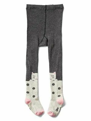 Baby Gap Girl's Grey Kitty Cat Polka Dot Animal Tights Size 12-24 Months NWT