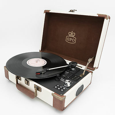 GPO Ambassador Record Player / Turntable Cream  w / BLUETOOTH & BUILT IN BATTERY