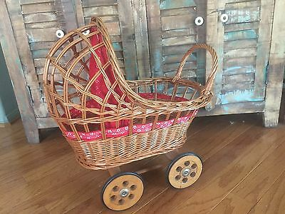 Vintage 1950's Baby Doll Bear Wicker Basket Stroller Buggy Carriage Free Ship!