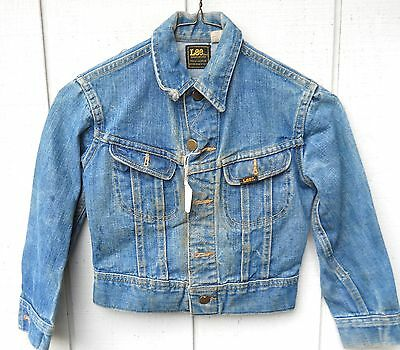 Vintage Lee Union Made Denim Button 2 Pocket Jacket Size Kids Small(7-8) Used)
