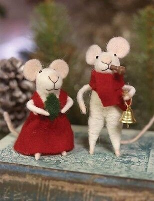 Victorian Trading Co Mr & Mrs Tom Thumb Felted Christmas Mice Couple NIB