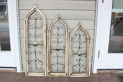 Wooden Antique Style Church WINDOW Wrought Iron Primitive Gothic 30-38 INCH