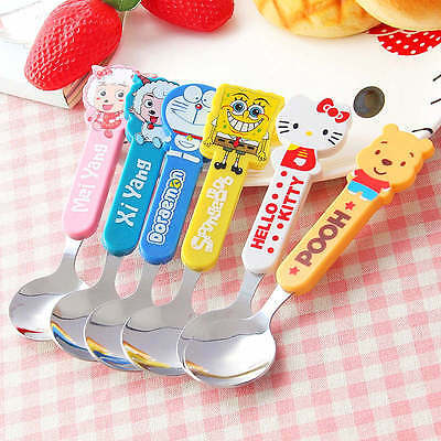 Cute Cartoon Figure Pattern Stainless Steel Safety Round Soup Spoon Kid Cutlery