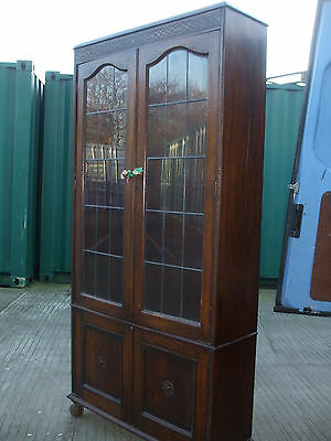 Antique oak library bookcase, leaded glass, 1920s, excellent storage capacity
