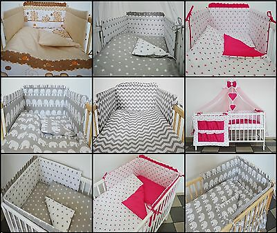 3 Pc Multi Pattern Baby Bedding Set Cot- Cot Bed Inc Bumper+Pillow/Duvet Case