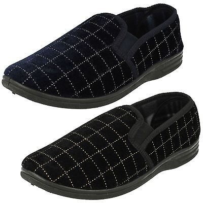 Mens Spot On Checked Comfy Black Navy Quality Home Slippers Ms44 (Ms62) Sizes