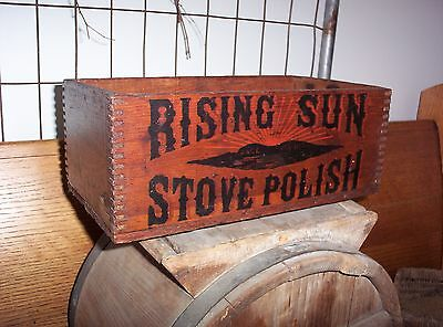 Antique RISING SUN STOVE POLISH Vintage Store Display Box Old Advertising
