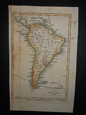 South America 1797 Map Morse Hand Color Brazil Guayana Captain Cook's Voyage