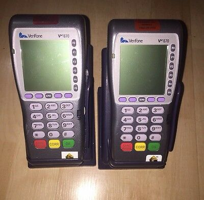 Lot of 2 VeriFone Vx670 PoS Machines W/ Base & Charger