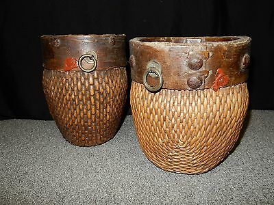 Two Antique Chinese/Oriental Vintage Woven Bamboo Baskets w/ WAX STAMP OLD