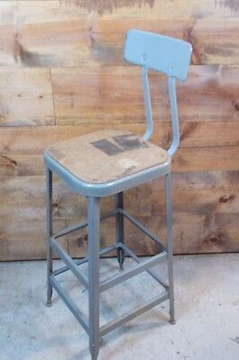 Vintage METAL LYON Industrial AGE Shop Factory Stool Chair STEAMPUNK SQUARE SEAT