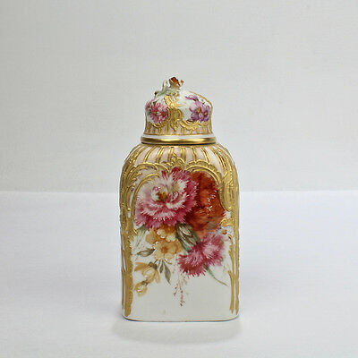 Antique KPM Berlin Porcelain Tea Caddy with Weichmalerei HP Flowers & Gold - PC