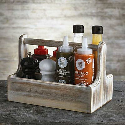Wooden Table Caddy White - Rectangular Condiment Sauce Table Tidy Storage Holder