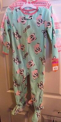 NWT Carter's Set Of 2, Toddler Girl's Dog Fleece Sleeper Footed Pajamas-Size 3T