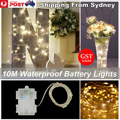 10M Waterproof Battery Operated 100 LED Silver Wire Warm White Fairy Lights Xmas
