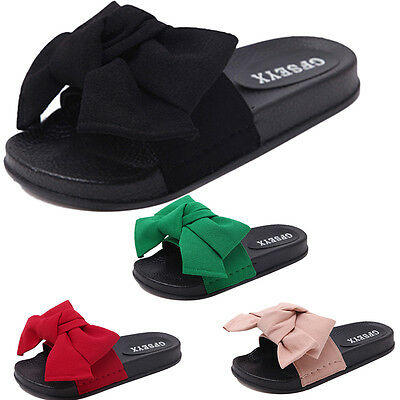 Fashion Beach Women's Casual Flip Flops with Bow Chiffon Slippers New Slides