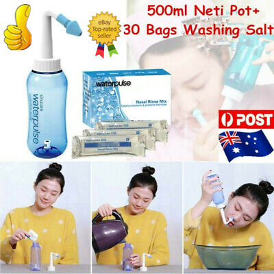 500ml Neti Pot Nasal Nose Wash Detox Sinus Allergie Relief W/30*Washing Salt