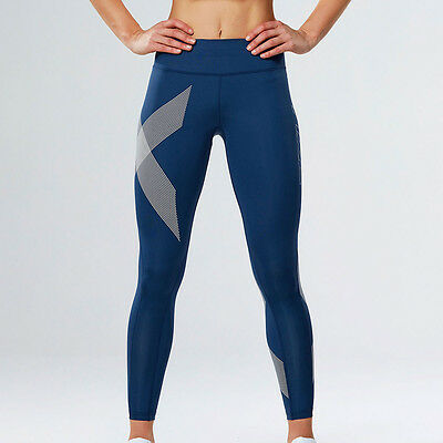 2XU Mid-Rise Womens Blue Compression Running Gym Long Tights Bottoms Pants