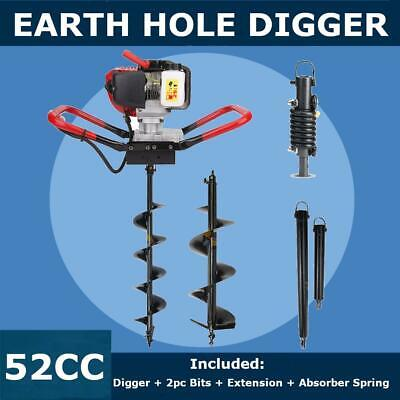 "2.3 HP Gas Powered Post Hole Digger+6""&10""Auger Bits+Extension+Shock Absorber"