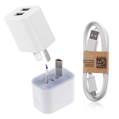 AU Plug USB Wall Charger Power Adapter & Micro-USB Cable for Android Samsung LG
