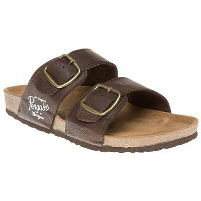 New Mens Penguin Brown Port Synthetic Sandals Buckle Slip On UK SIZE 7