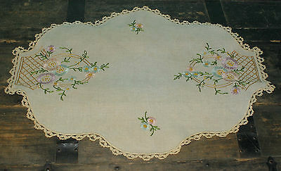 """Vintage Hand Embroidered Floral Doily Tan Cotton  20"""" x15"""""""