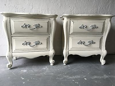 Pair of Vintage French Curvy Shabby Chic Nightstands