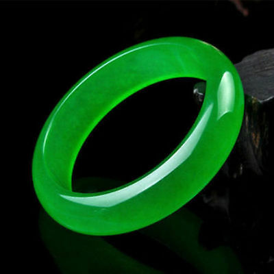 Hot Chinese Green Jade Bangle Bracelet 100% Natural Handmade 60MM