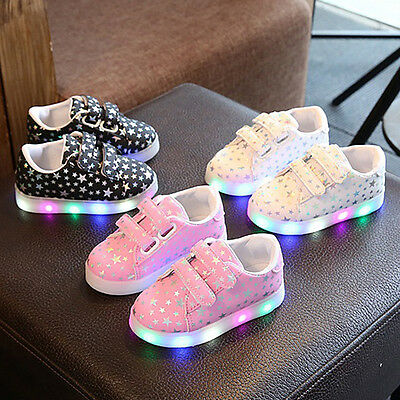 LED Kids Shoes Girls Star Glitter Light Up Sneakers Baby Child Luminous Trainers