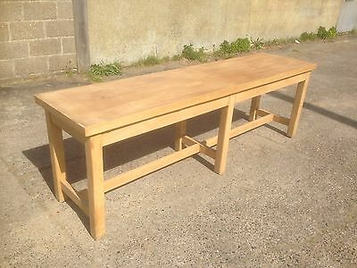 Large Long School Art Table Refectory Farmhouse Bakers Industrial Stretchers