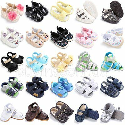 Newborn Infant Toddler Baby Boy Girl Soft Sole Crib Shoes Sneaker Sandals 0-18M