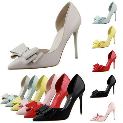 Fashion Women New Shallow Stiletto High Heels Shoes Bow Knot Pointed Toe Sandals