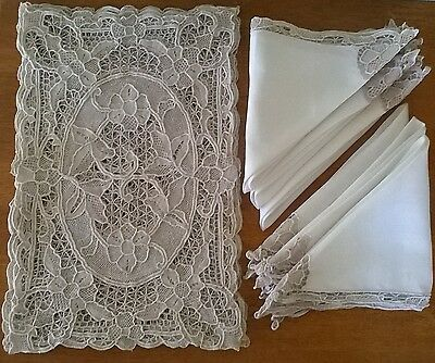 Antique French linen and lace place mats and napkins x 6 - Beautiful!!