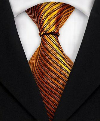 Classic Gold Striped Ties 100% Silk JACQUARD WOVEN Men's Suits Tie Necktie A394