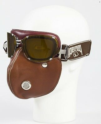 Baruffaldi Super Hector brown leather mask with goggles vintage steampump style