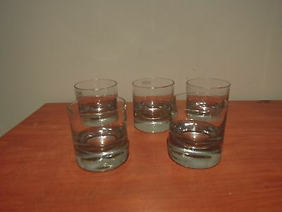 Set of 5 Krosno whiskey glass tumblers, Poland heavy European design