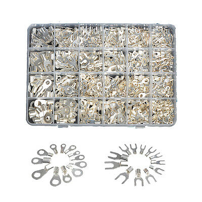 870pcs 24 Sizes Non-Insulated Ring Spade Fork Terminals Connector Assortment Kit