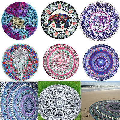 New Round Mandala Indian Elephant Tapestry Beach Yoga Throw Towel Mat Blanket