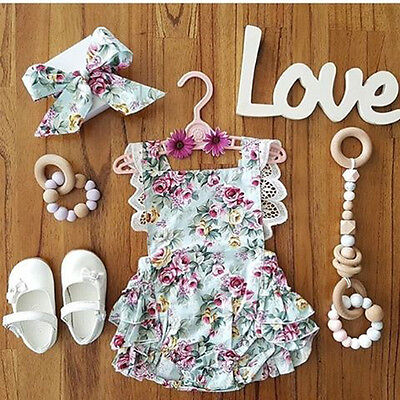 Newborn Kids Baby Girls Clothes Floral Outfits Set Lace Jumpsuit Romper Playsuit
